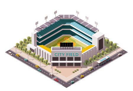 beisbol: Icono isométrico que representa estadio de béisbol