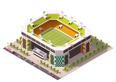Isometrisch pictogram van voetbalstadion Stock Illustratie