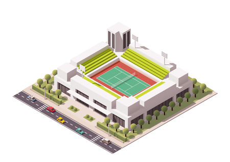 real tennis: Isometric icon representing tennis stadium Illustration
