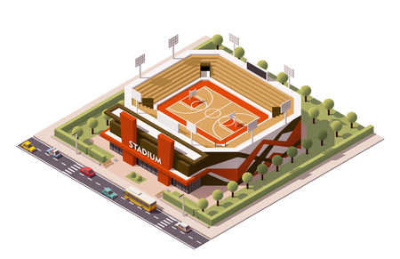 Isometric icon representing basketball stadium 免版税图像 - 49904365