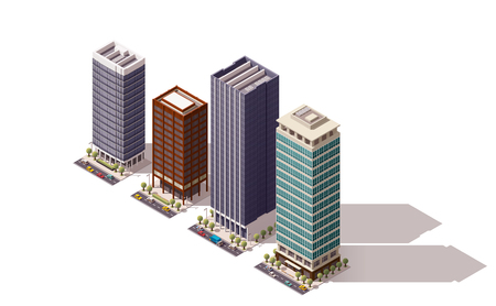 Impostare degli edifici della città isometriche Archivio Fotografico - 49904369