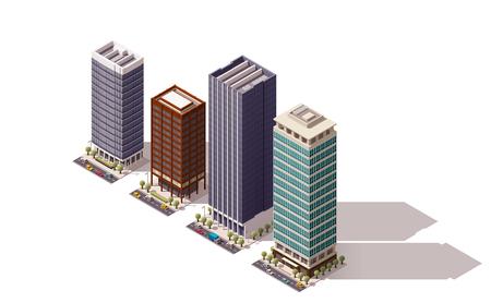Zestaw izometrycznych budynków miejskich Zdjęcie Seryjne - 49904369