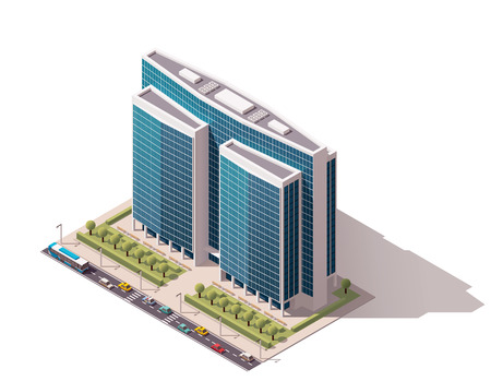 도시 건물을 나타내는 아이소 메트릭 아이콘 일러스트