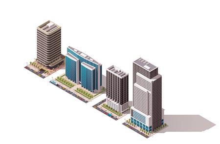 construccion: Conjunto de los edificios isométricos ciudad Vectores