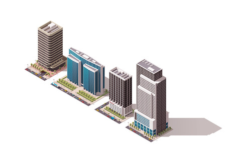 building real estate modern: Set of the isometric town buildings