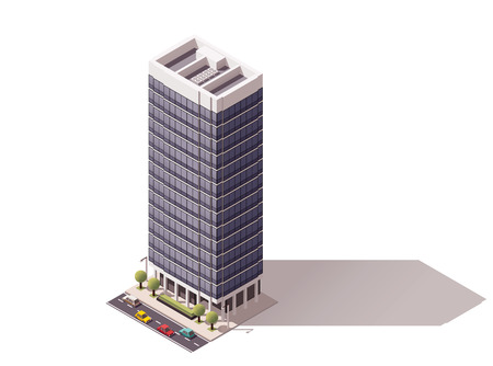 residences: Isometric icon representing city building
