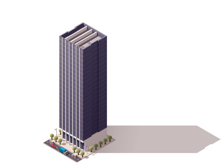 city buildings: Isometric icon representing city building