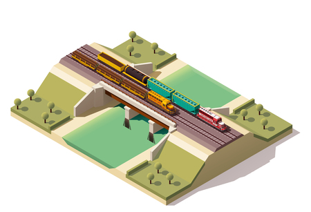 viaduct: Isometric icon representing train bridge with locomotives Illustration