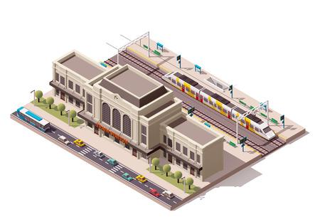 estacion de tren: Icono isométrico del tren que representa edificio de la estación