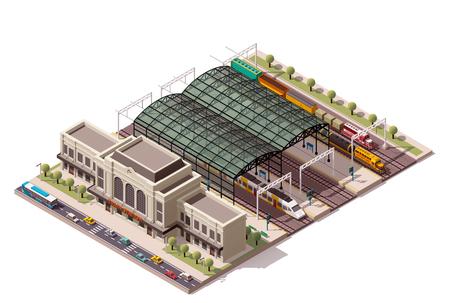 infraestructura: Icono isométrico del tren que representa edificio de la estación