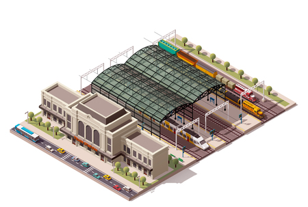 loco: Isometric icon representing train station building