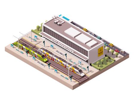 Icono isométrico del tren que representa edificio de la estación Ilustración de vector