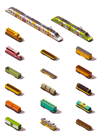 Set of the isometric trains and carriages