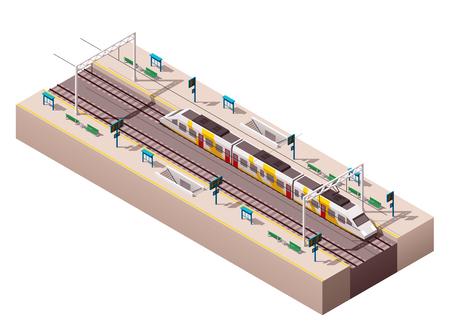 Icona isometrica edificio della stazione ferroviaria che rappresenta Vettoriali