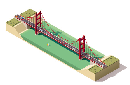 Isometric suspension bridge over the river Иллюстрация