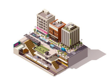 Vector isometric subway station cross section 일러스트