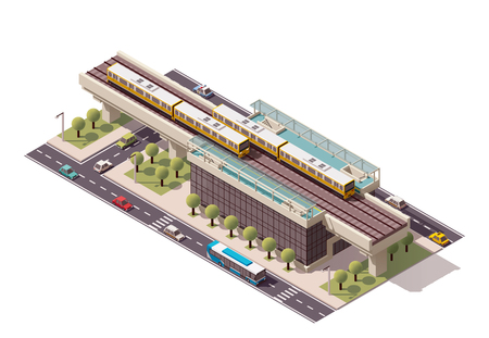 Vector isometric elevated city train station Çizim