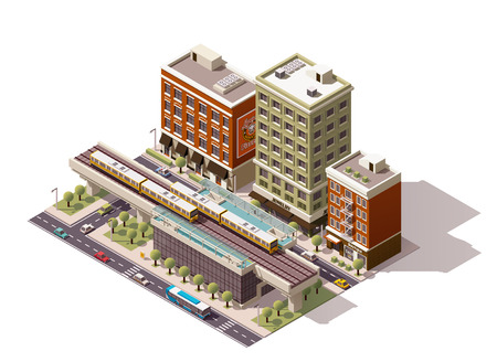 rails: Vector isometric elevated city train station Illustration