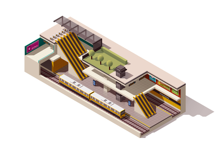 Vector isometric subway station cross section Çizim