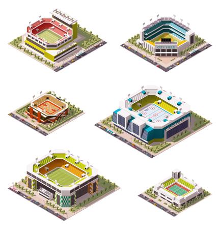 Set van de verschillende arena's isometrische Stock Illustratie