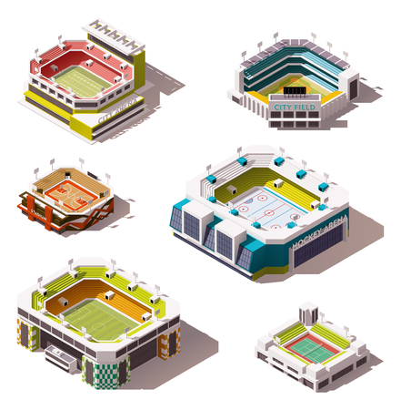 soccer field stadium: Set of the different isometric arenas