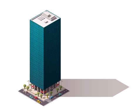 도시의 건물을 대표하는 아이소 메트릭 아이콘 일러스트