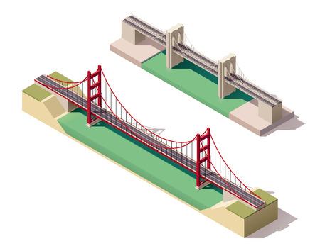 Vector isometrische hangbruggen