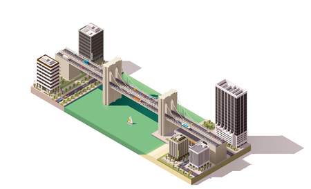 viaduct: Isometric city map with river and bridges Illustration
