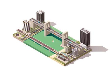 Isometrische plattegrond van de stad met de rivier en bruggen