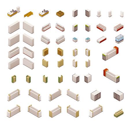 Set van de isometrische supermarkt apparatuur