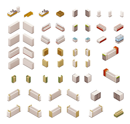 Set of the isometric grocery store equipment
