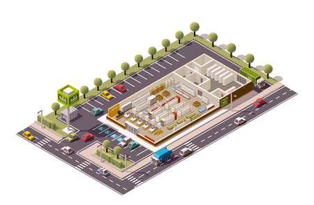 building lot: Vector isometric grocery store cross-section Illustration