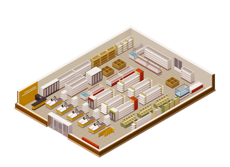 grocery shelves: Vector isometric grocery store cross-section Illustration