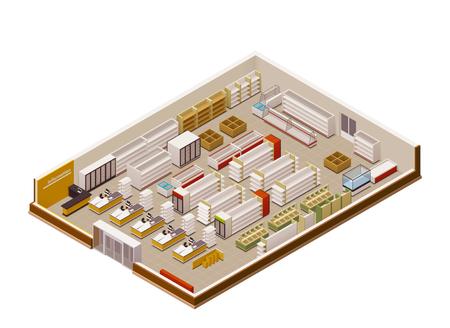 Vector tienda de comestibles isométrica sección transversal Ilustración de vector