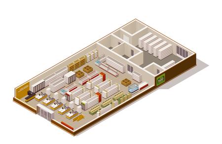 adentro y afuera: Vector tienda de comestibles isométrica sección transversal