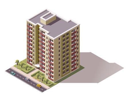 Icône isométrique représentant bâtiment de la ville