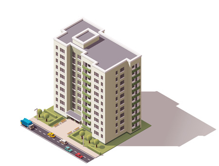 exterior element: Isometric icon representing city building