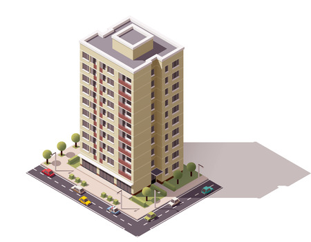 building real estate modern: Isometric icon representing city building