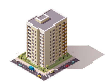 office building exterior: Isometric icon representing city building