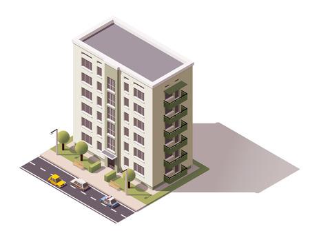 Icona isometrica che rappresenta edificio della città