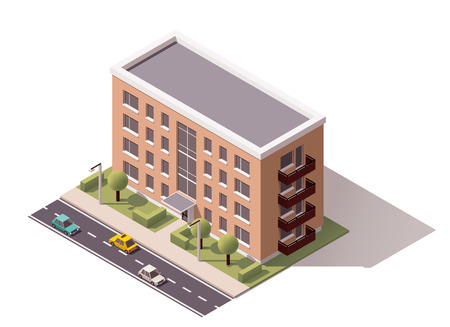 apartment block: Isometric icon representing city building