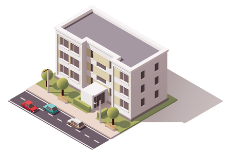 dwelling: Isometric icon representing city building