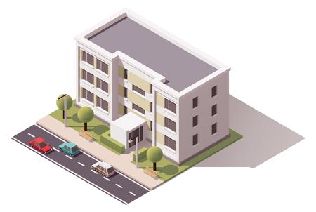 Izometryczny ikona reprezentująca budynku miasta