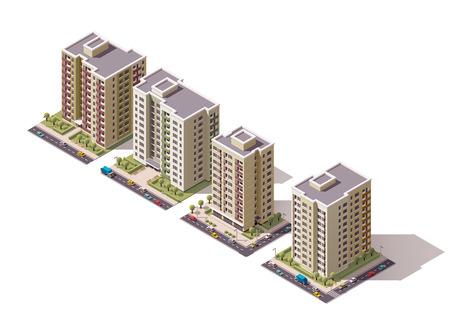 Set der isometrischen Gebäude der Stadt