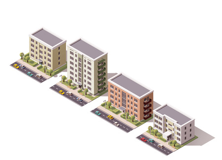 Insieme degli edifici della città isometrica Vettoriali