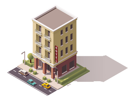 Isometric icon representing small hotel building