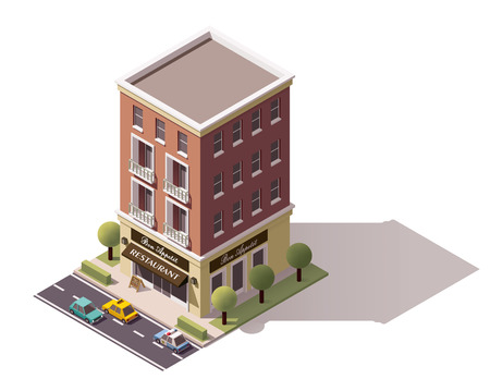 low poly: Isometric icon representing restaurant building