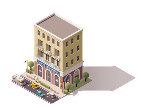 Isometric icon representing tourist information centre building