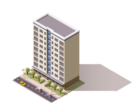condominium: Isometric icon representing city building
