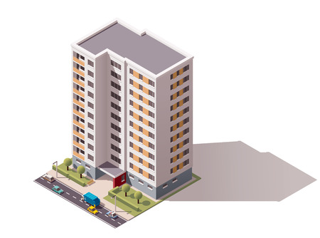 multistory: Isometric icon representing city building
